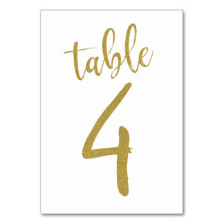 Gold Glitter Table Number 4