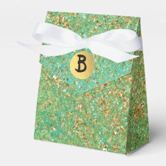 Gold Glitter & Teal Aqua Glam Monogram Party Favor Box