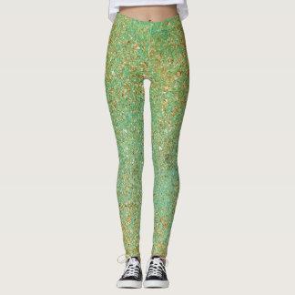 Gold Glitter & Teal Aqua Glam Sparkle Glittery Leggings