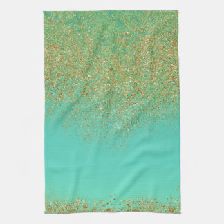 Gold Glitter & Teal Aqua Modern Girly Trendy Glam Kitchen Towel
