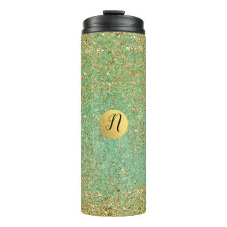 Gold Glitter Teal Aqua Modern Glam Trendy Thermal Tumbler