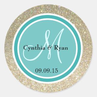 Gold Glitter & Teal Green Wedding Monogram Classic Round Sticker