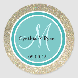 Gold Glitter & Teal Green Wedding Monogram Round Sticker