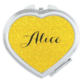 Gold glitter texture makeup mirror