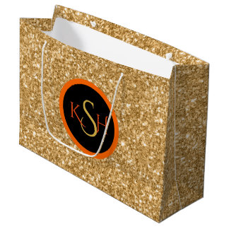 Gold Glitter Texture Pattern Large Gift Bag