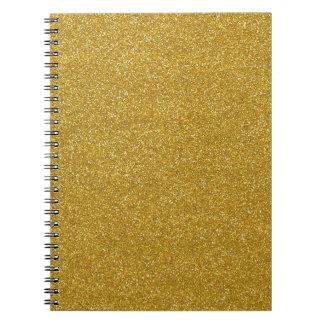 Gold Glitter Texture Spiral Notebook