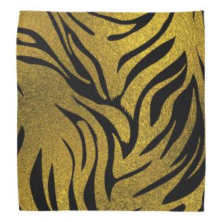 Gold  Glitter Tiger   pattern print on black Bandana