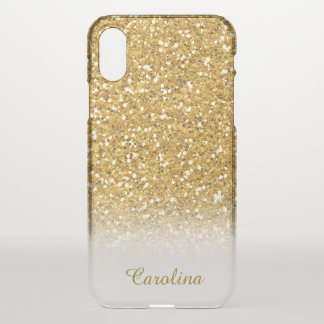 Gold Glitter Translucent, Personalized with Name iPhone X Case