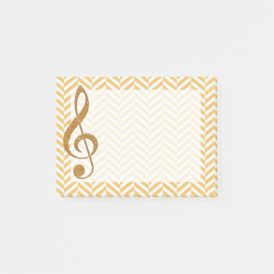 Gold Glitter Treble Clef on Yellow Chevron Post-it Notes