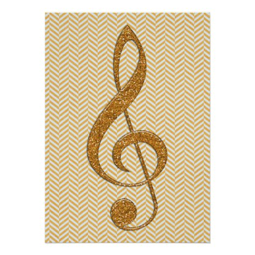 Gold Glitter Treble Clef on Yellow Chevron Poster