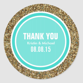Gold Glitter & Turquoise Thank You Label Round Sticker
