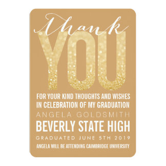 "Gold Glitter Typography Graduation Thank You Card 5"" X 7"" Invitation Card"