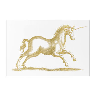 Gold Glitter Unicorn Fantasy Acrylic Print