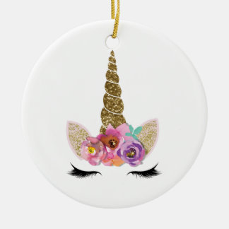 Gold Glitter Unicorn Horn Floral Personalized Ceramic Ornament