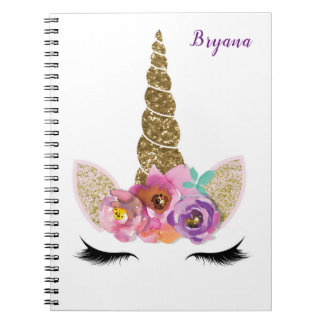 Gold Glitter Unicorn Horn Girls Glam Personalized Notebook