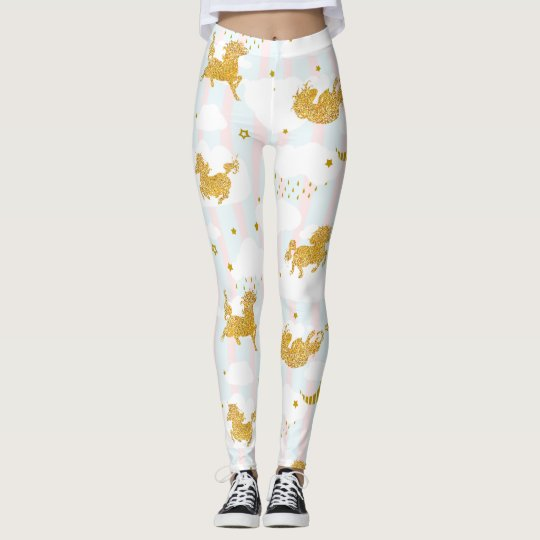 Gold Glitter Unicorn Pattern Girly Yoga Running Leggings