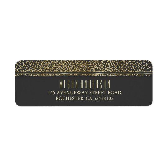 Gold Glitter Vintage Glam Wedding Return Address Label