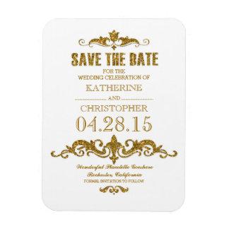 gold glitter vintage save the date magnet