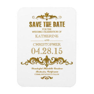 gold glitter vintage save the date rectangular photo magnet