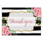 Gold Glitter Watercolor Floral Stripes Thank You Card