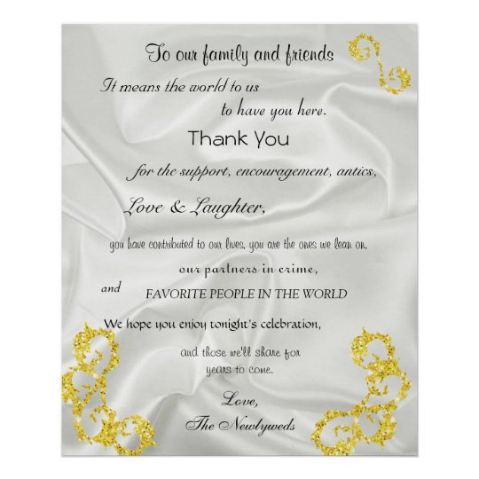 Gold Glitter, White Satin, Wedding Welcome, Poster