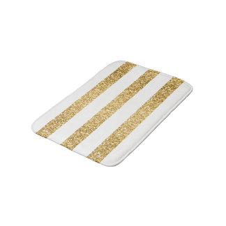 Gold Glitter White Stripes Pattern Bath Mat