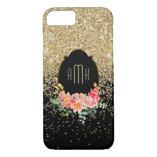 Gold Glitter with Floral Monogram iPhone 8/7 Case