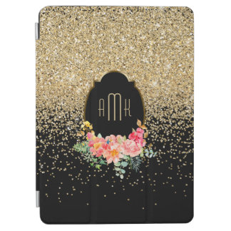 Gold Glitter with Watercolor Floral Monogram iPad Air Cover