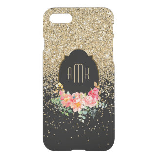 Gold Glitter with Watercolor Floral Monogram iPhone 7 Case