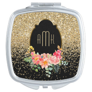 Gold Glitter with Watercolor Floral Monogram Mirror For Makeup