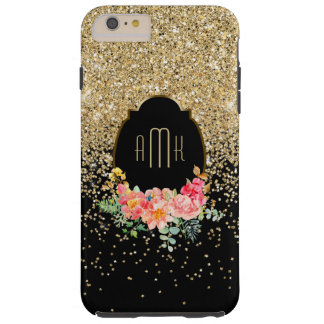 Gold Glitter with Watercolor Floral Monogram Tough iPhone 6 Plus Case