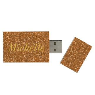 Gold Glitter Wood USB Flash Drive