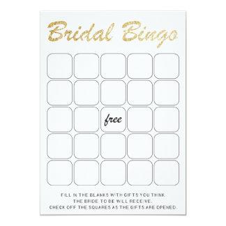 Gold glittering bridal shower bingo game card