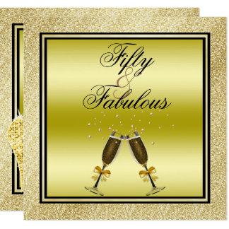 Gold Glitters Stiletto & Champagne Fabulous 50 Card