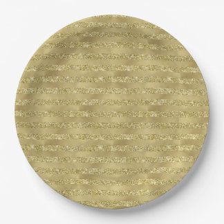 Gold Glittery Chic Stripes Paper Plate