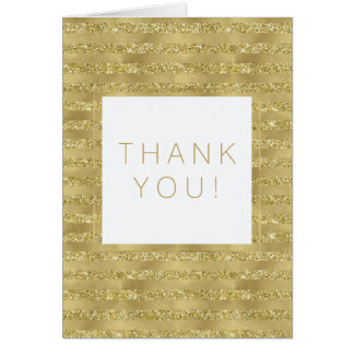 Gold Glittery Chic Stripes Thank You Card