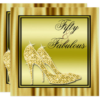 Gold Glittery Stilettos & Music Fabulous 50 Card