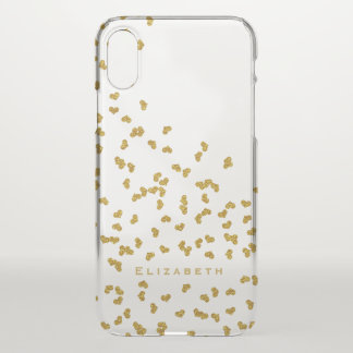 gold glittery tiny confetti hearts personalized iPhone x case