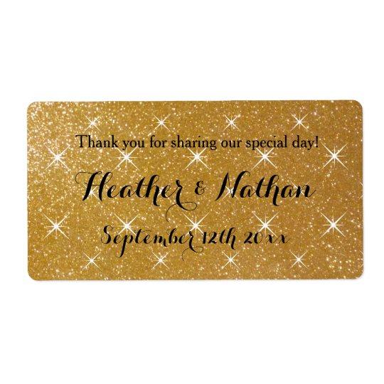 Gold glittery wedding wine or water bottle labels