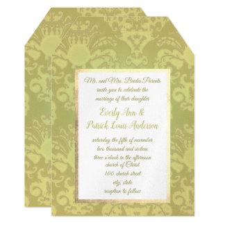 Gold Glitz Damask Wedding Invitation