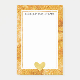 Gold Glitz Heart Post-it Notes