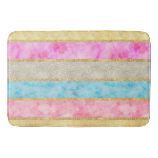 Gold Glitz Watercolor Stripes Bath Mat