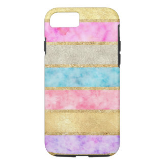 Gold Glitz Watercolor Stripes iPhone 8/7 Case