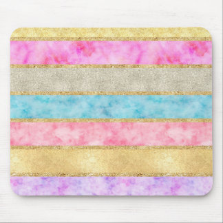 Gold Glitz Watercolor Stripes Mouse Pad