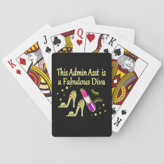 GOLD GLITZY ADMIN ASSISTANT DIVA DESIGN PLAYING CARDS