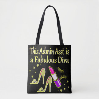 GOLD GLITZY ADMIN ASSISTANT DIVA DESIGN TOTE BAG