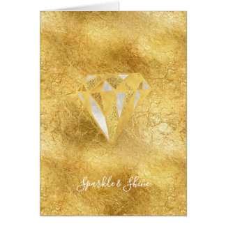 Gold Glitzy Diamond Sparkle Shine Card