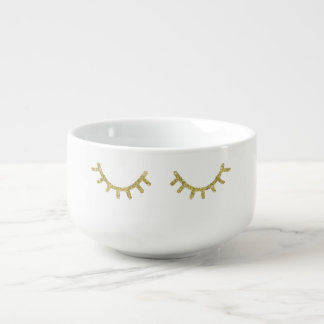 Gold Glitzy Eyelashes Soup Mug