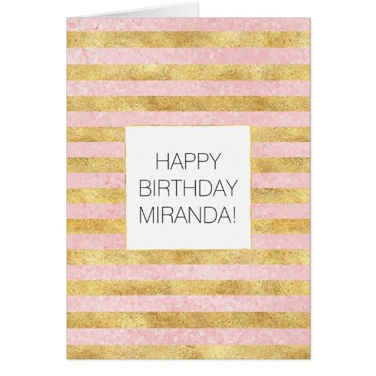 Gold Glitzy Pretty Pink Stripes Card