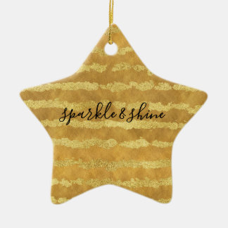 Gold Glitzy Stripes Sparkle Shine Ceramic Ornament